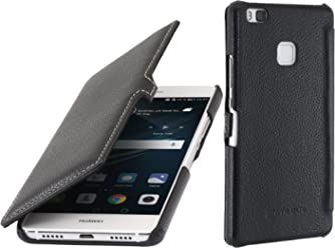 StilGut Book Type Case con clip, custodia in vera pelle a libro per Huawei P9 Lite, nero