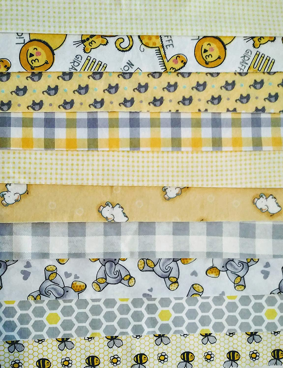 Contemporary Pre-Cut Flannel Quilting Pieces: 20 pc Jelly Rolls (Yellow Bees/Elephants, 2.5 x 40) 2.5 x 40) mixed
