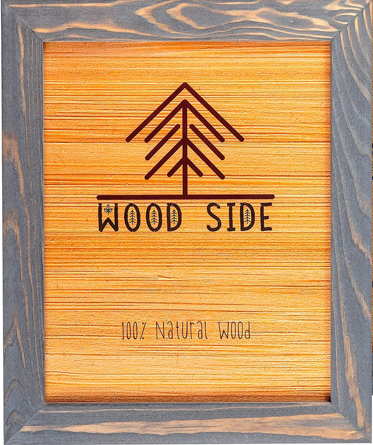 Rustic Wooden Picture Frame 9x12-100% Natural Solid Eco Distressed Wood for Wall Mounting Photo Frame - Grey