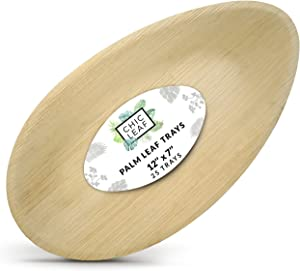 Chic Leaf Palm Leaf Platter Disposable Bamboo Plates 12