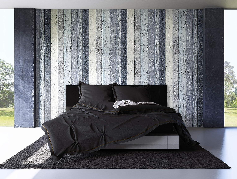 NEWROOM Papier peint bois bleu poutre en bois bois maison de campagne intiss/é blanc d/époque rayure shabby chic