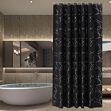 Sfoothome Polyester Fabric Shower Curtain Waterproof/No Mildews Bathroom  Shower Curtains,Black Siliver Circle