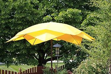 8u0027 Wind Resistant Lotus Fiberglass Patio Umbrella   Yellow