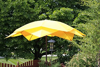 8u0027 Wind Resistant Lotus Fiberglass Patio Umbrella   Yellow
