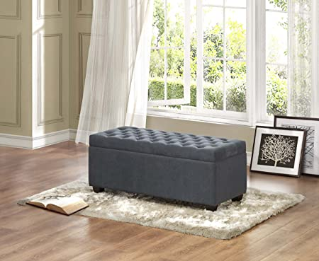 Homelegance 4741FA Tufted Fabric Lift-Top Storage Bench, Grey