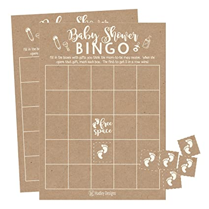 25 Rustic Kraft Bingo Game Cards For Baby Shower Bulk Blank Squares PLUS