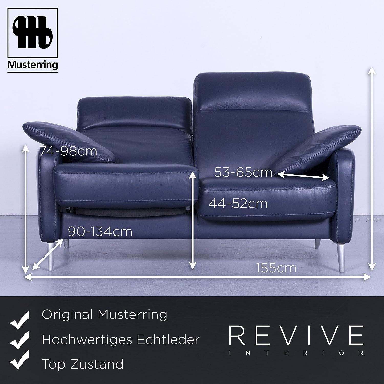 Sofa Musterring Relax Funktion Zweisitzer Blau Couch Leder Echtleder