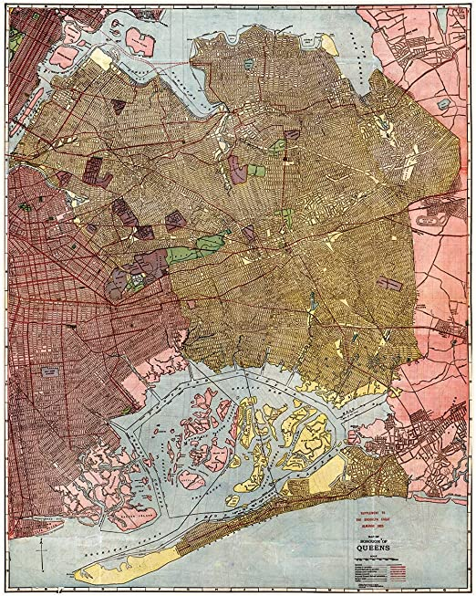 Borough of Queens NY c1918 map 24x30