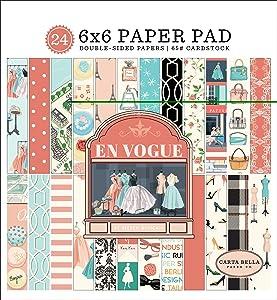 Carta Bella Paper Company En Vogue 6x6 Pad paper, pink, green, teal, black