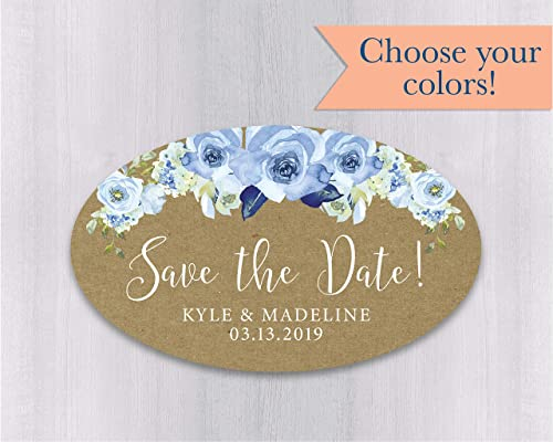 floral personalised wedding date labels invitation and Save our date labels Wedding stickers