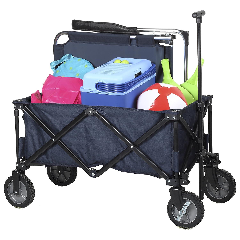 Campart Travel HC-0910 klappbarer Strandwagen/Bollerwagen - 70 Kilogramm Belastbarkeit - Blau mit Tasche