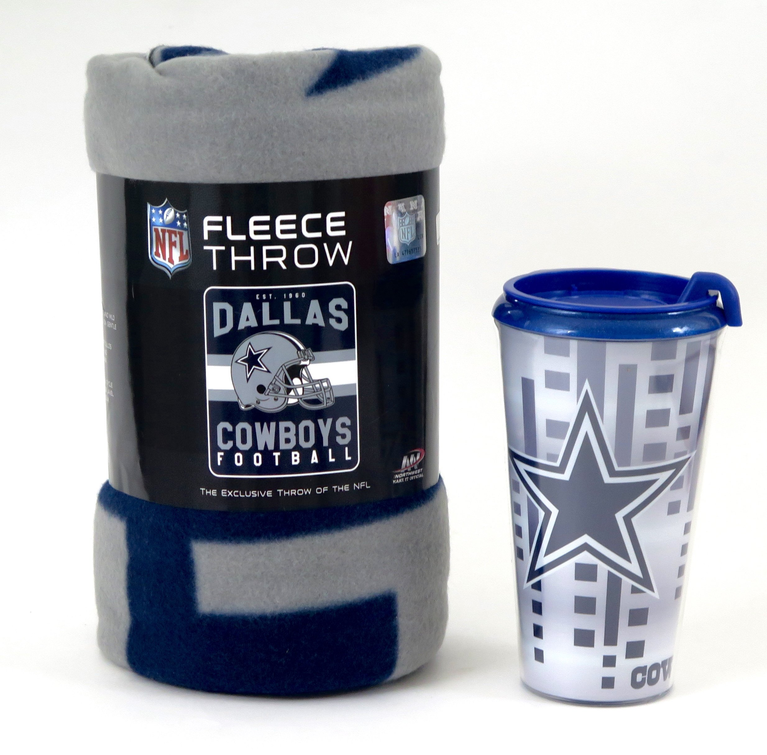 Dallas Cowboys Blanket and Tumbler set. This soft fleece throw blanket will keep you warm at the game or ar home.