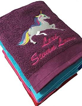 Toalla de baño con diseño de unicornio bordado, personalizable: Amazon.es: Hogar