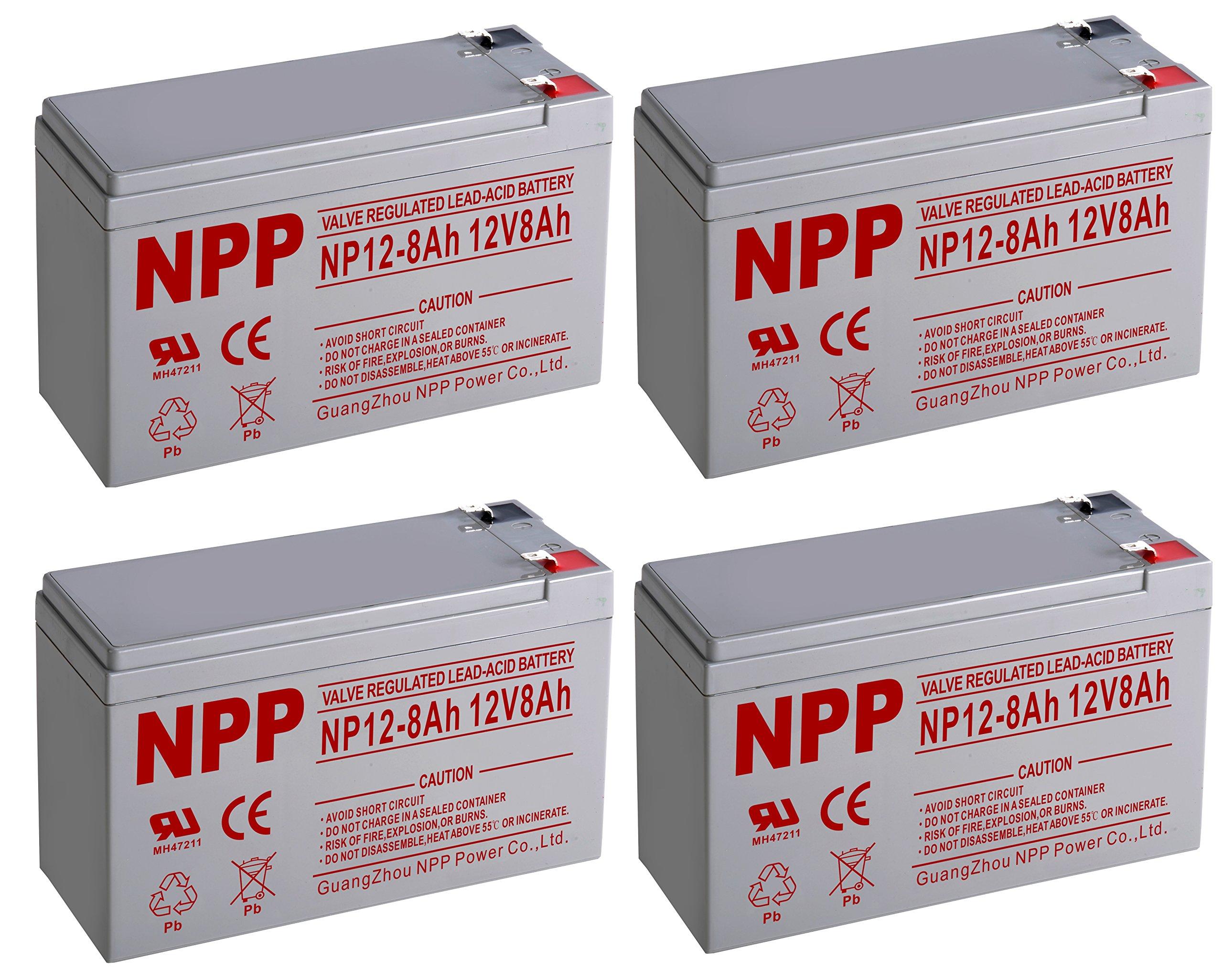 NPPower NP12-8Ah SLA Sealed Lead Acid 12V 8Ah Battery F1 Style Terminals/(4pcs)