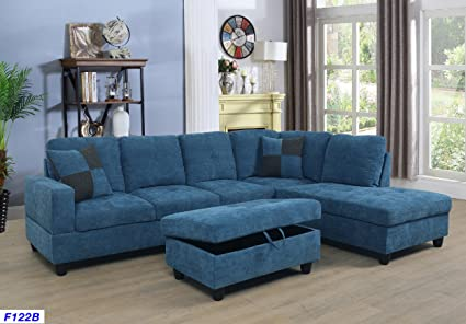 Beverly Fine Furniture SH122B Right Facing Russes Sectional Sofa Set with  Ottoman, Blue