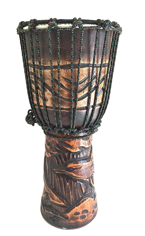 Djembe tambor de profundidad tallada Percusión Bongo Tambor profesional, 20
