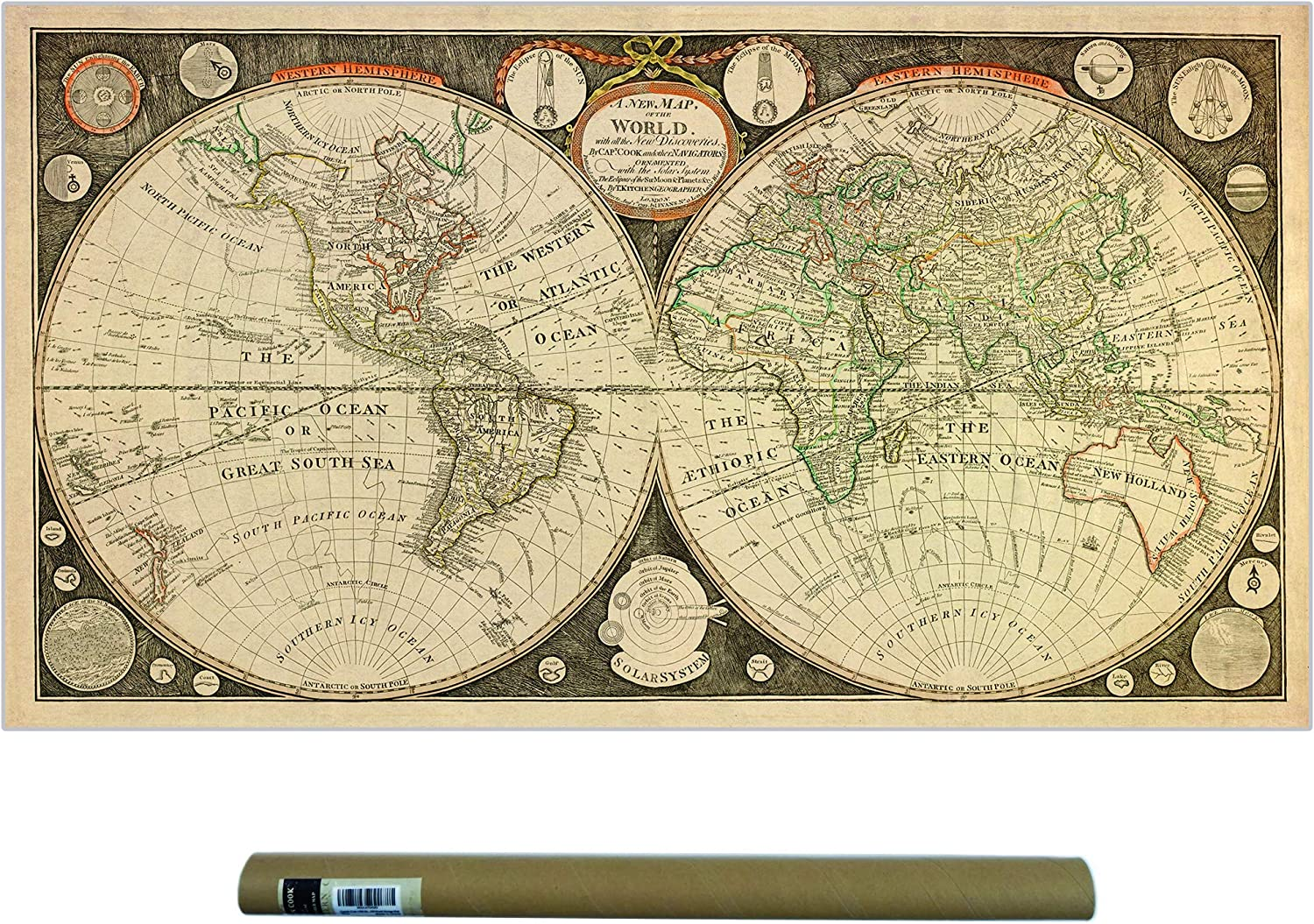 Dekali Designs Captain Cook 1799 Vintage World Map Poster - Canvas Fabric Print Map of The World - World Map Wall Art/Old Decor/Antique Maps/Wall Hanging - 42 x 24 Inches Old World Vintage Map