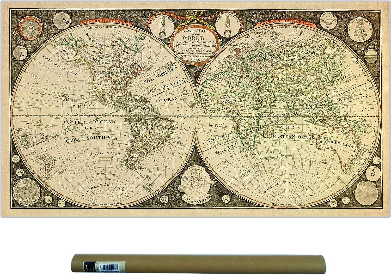 Old World Map Poster Amazon.com: Dekali Designs Captain Cook 1799 Vintage World Map