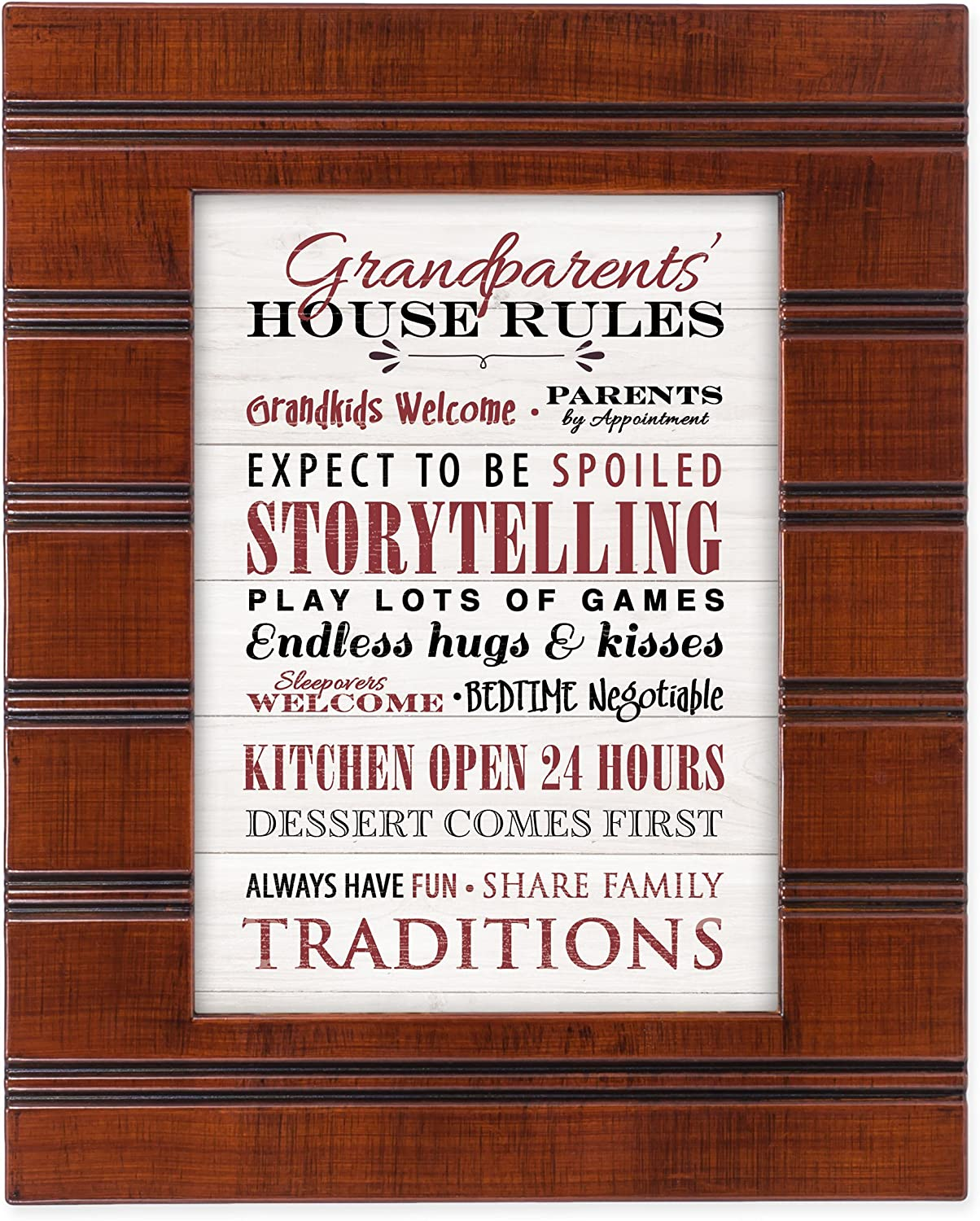 Cottage Garden Grandparents' House Rules Wood Finish 8 x 10 Framed Wall Art Plaque