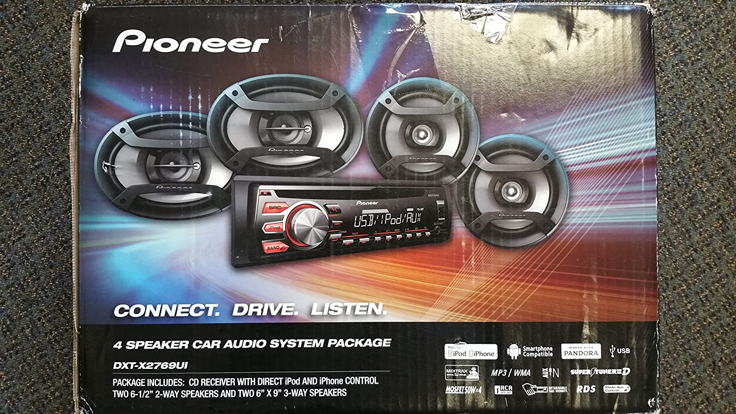 pioneer 4 speaker car audio system package. amazon.com: pioneer car stereo audio combo pack 4 speakers + aux cable am fm cd mp3 player input 200 watts dxt-x2769ui00 truck suv bus: electronics speaker system package