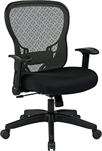 SPACE Seating R2 SpaceGrid Back and Padded Memory Foam Mesh Seat, 2-to-1 Synchro Tilt Control, Nylon Base Adjustable Managers Chair, Black