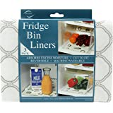 Envision Home Fridge Bin and Shelf Liners, Gray Trellis, 3 Piece