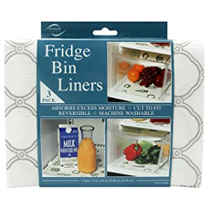 Envision Home Fridge Bin & Shelf Liners 3 Trellis 3 Piece