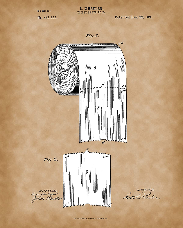 Amazon.com: Paper Roll 1891 Print - Original Bathroom Patent Art ...