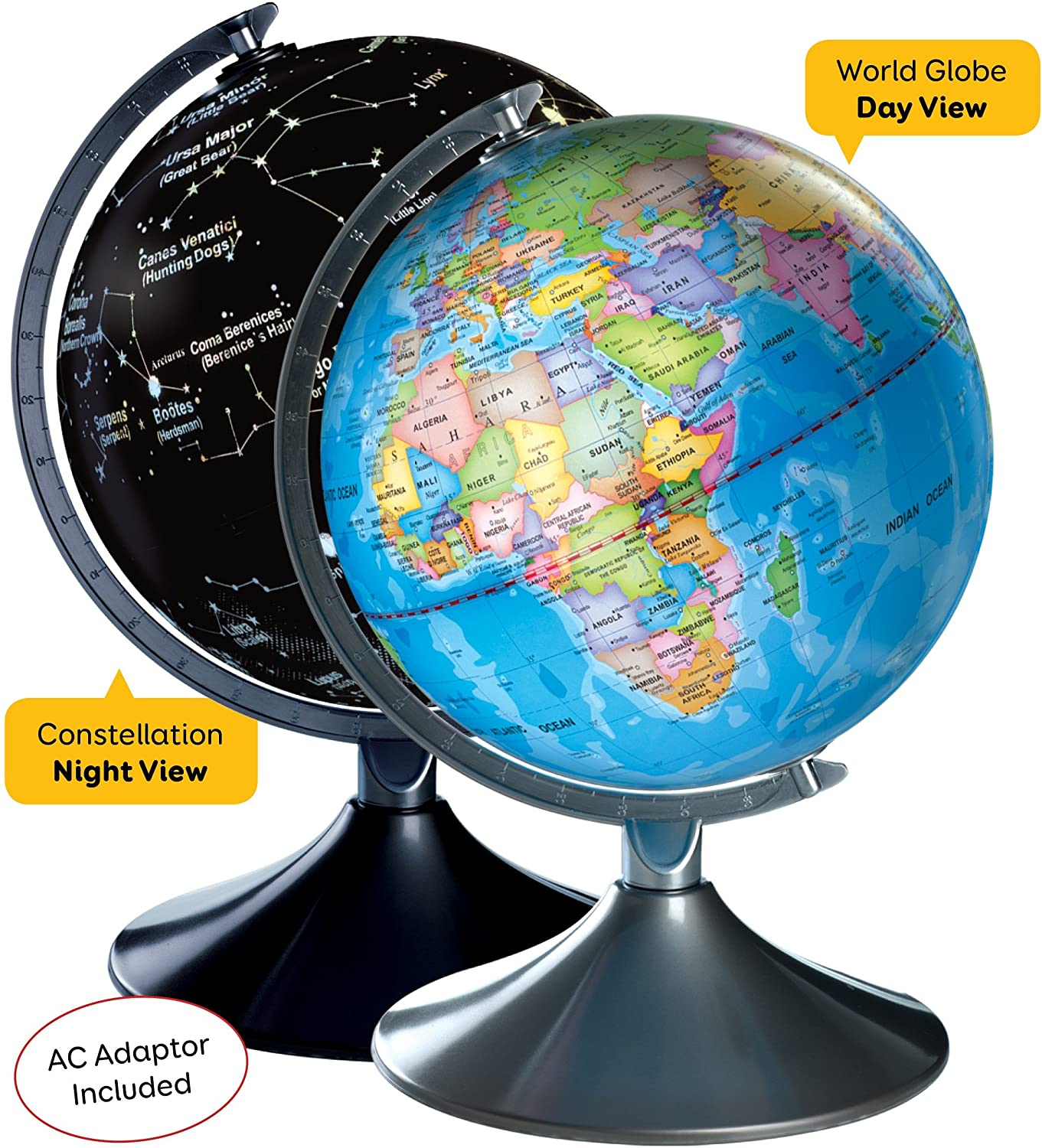 Interactive World Illuminated Globe for Kids - 2-in-1 Standing Political Earth Sphere by Day & Glowing Star Constellation Map at Night - AC Adapter Included