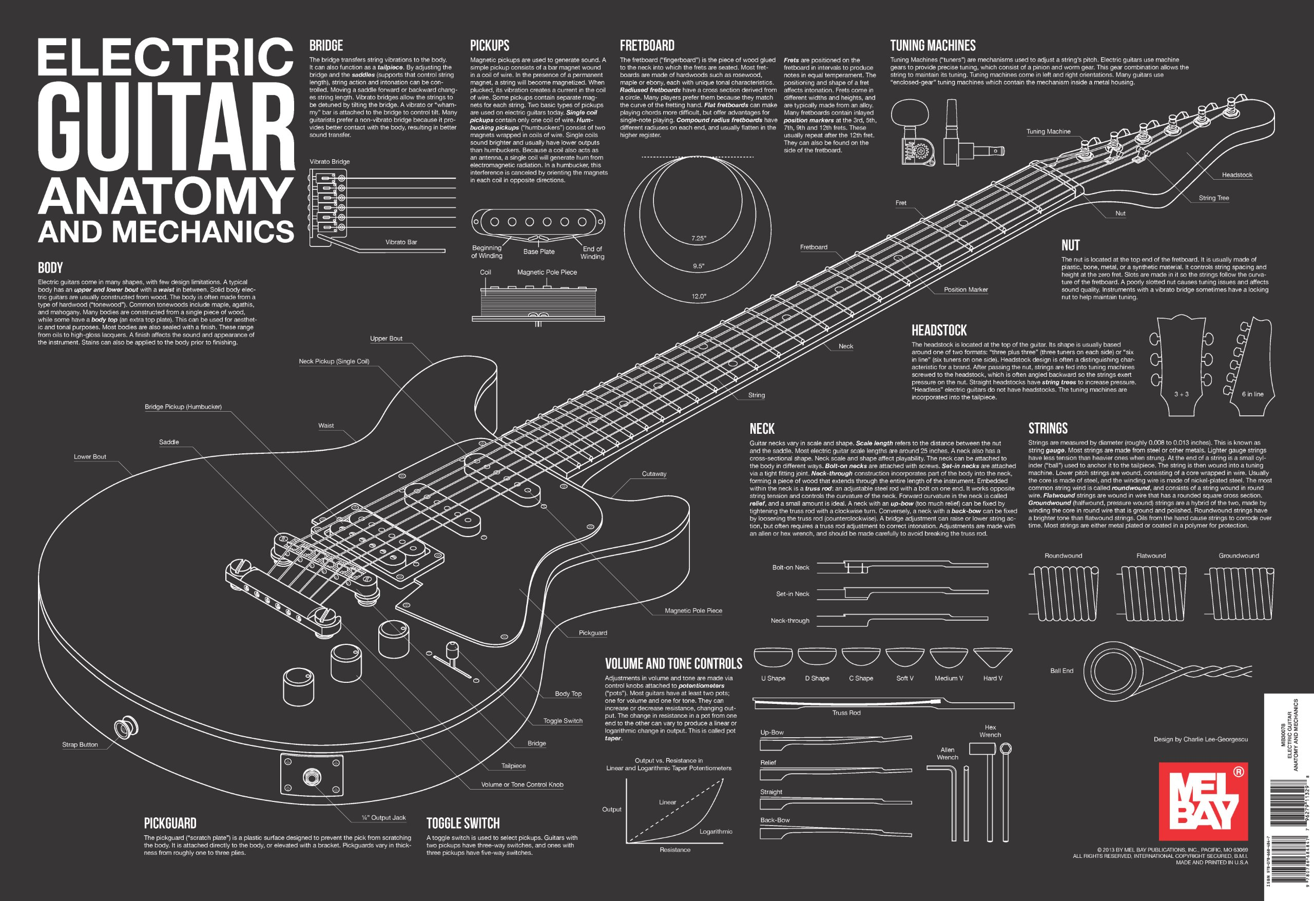 Electric Guitar Anatomy and Mechanics Wall Chart: Charlie Lee ...