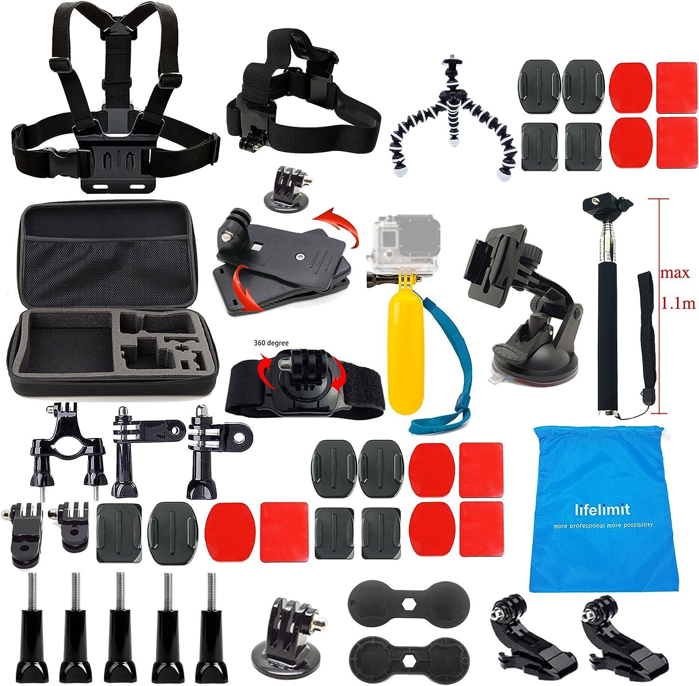 Lifelimit Accessories Starter Kit For Gopro Hero 7//6//Fusion//5//Session 4//3//2//HD Hero Black Silver Cameras Sony DV WiMius Rollei QUMOX Campark SJ4000 5000 6000 AKASO APEMAN DBPOWER
