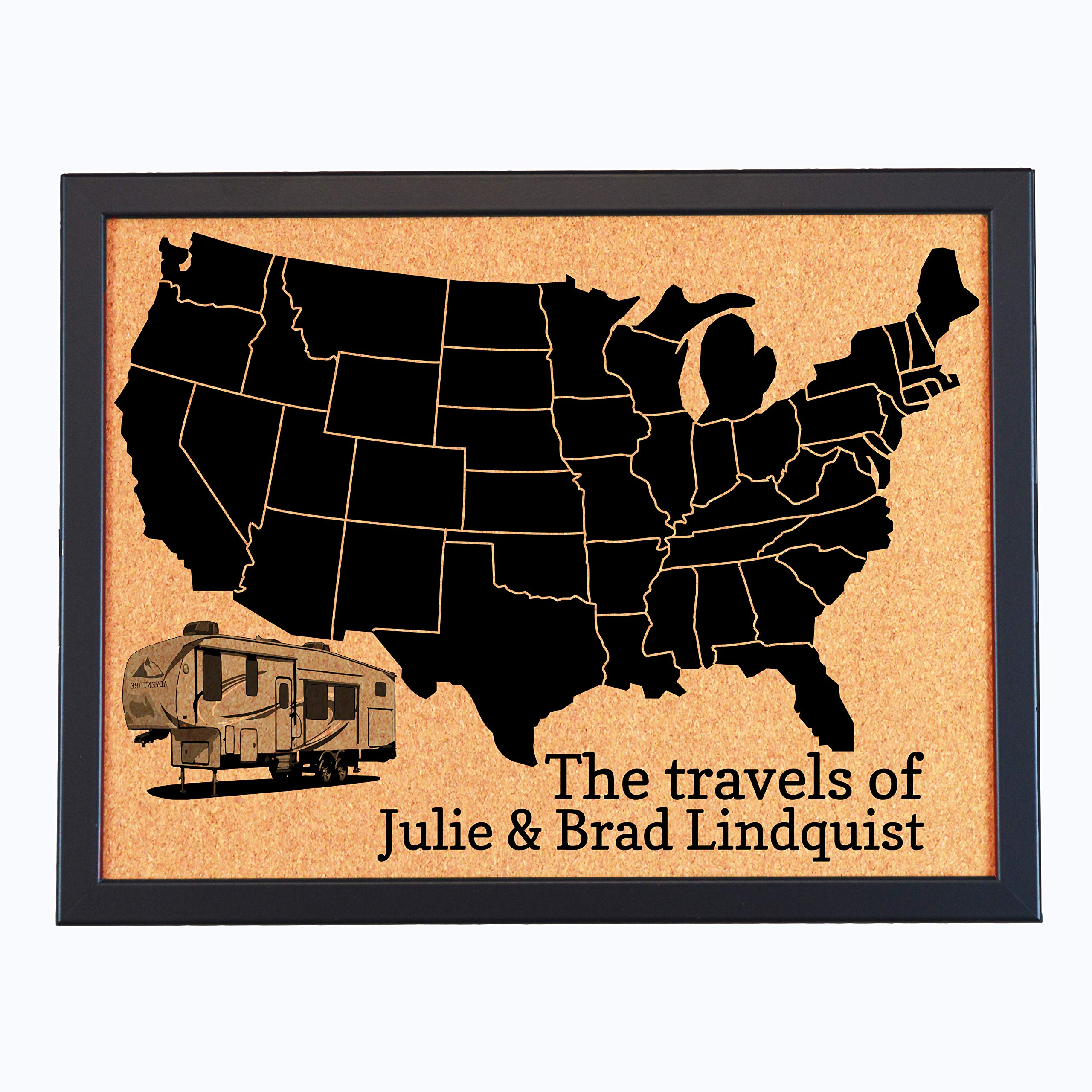 Lindsey Lou Patterns Custom Pushpin Board Map of US, Fifth Wheel, Travels of (Black with Black Frame)