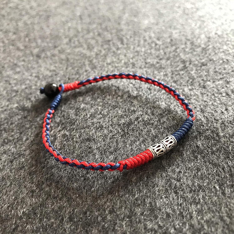 LADY Wan 1 Pcs Tibetan Red String Bracelet//Anklet 925 Sterling Silver Charm Red-Black Adjustable 20-28cm