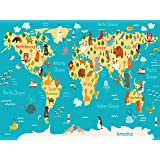 Kids World Map Poster with Animals - Large Kids Educational Animal/Famous Building World Map Home Decor Art (18X24 inch Hi Gloss Preschool and Kindergarten Educational Poster)