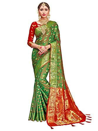 3cad5a569 Amazon.com  ELINA FASHION Sarees for Women Patola Art Silk Woven Work Saree  l Indian Traditional Wedding Ethnic Sari with Blouse Piece (Green)  Clothing