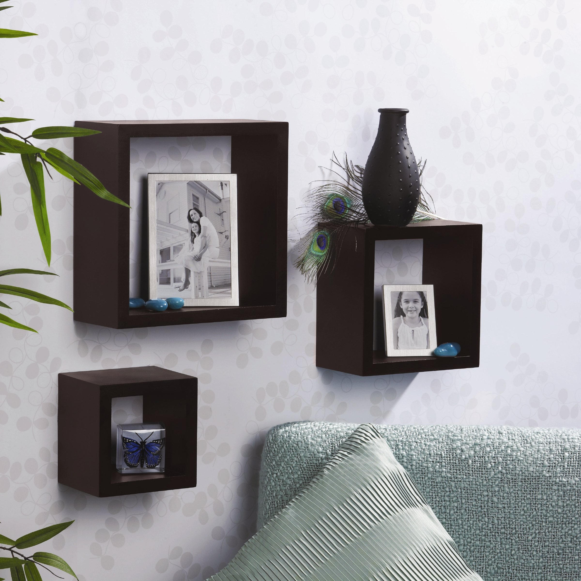 cube shelf 3 wood square wall mount display shelving home organizer decor walnut ebay. Black Bedroom Furniture Sets. Home Design Ideas