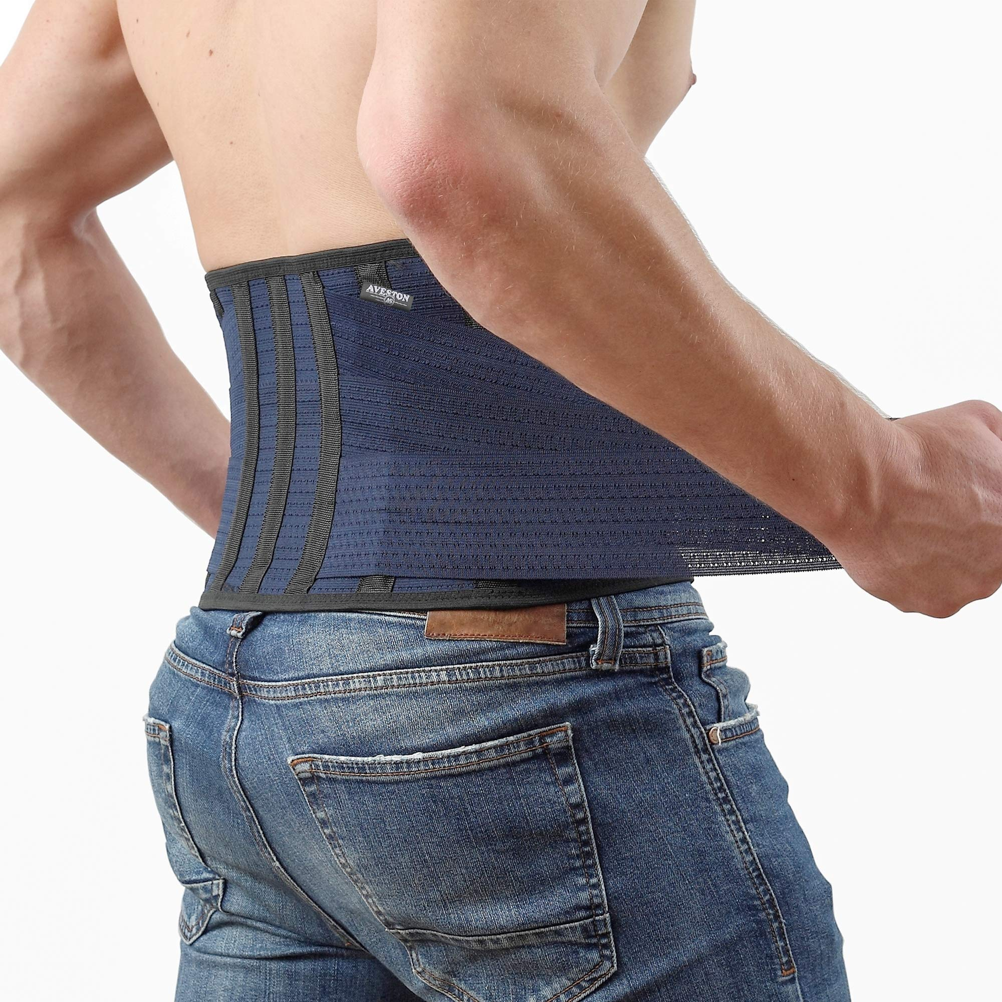 Breathable Back Support and Lumbar Lower Back Brace provides Back Pain Relief - Keep Your Spine Safe and Straight thanks to 6 Plastic ribs and 3 Adjustable Belt - Medium size