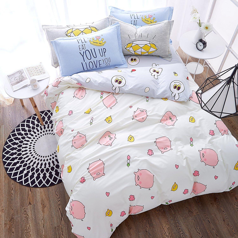 auvoau Kids ropa de cama para las niñas y los niños algodón funda ...