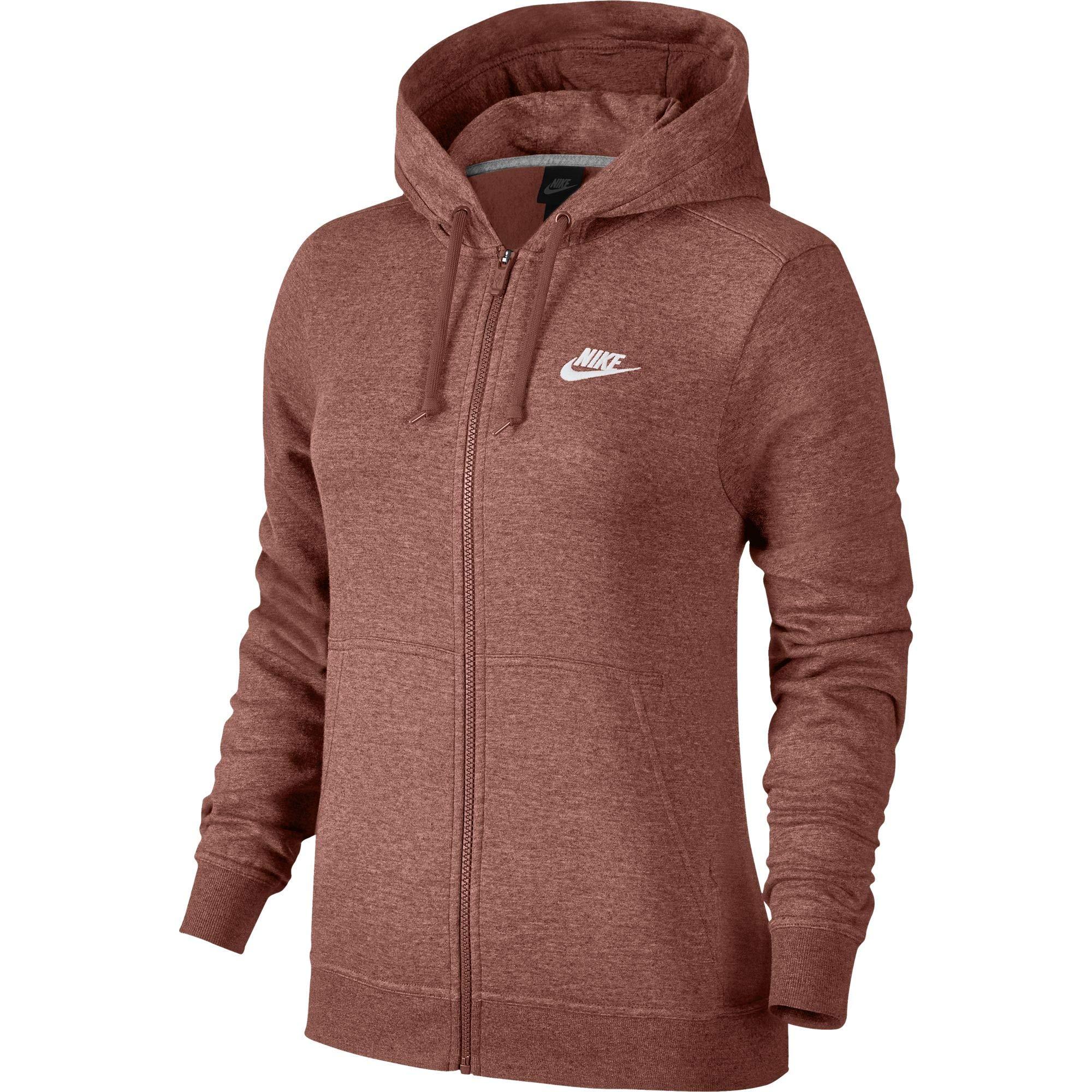 Nike Women's Sportswear Full Zip Fleece Hoodie, Rust Pink (X-Small)