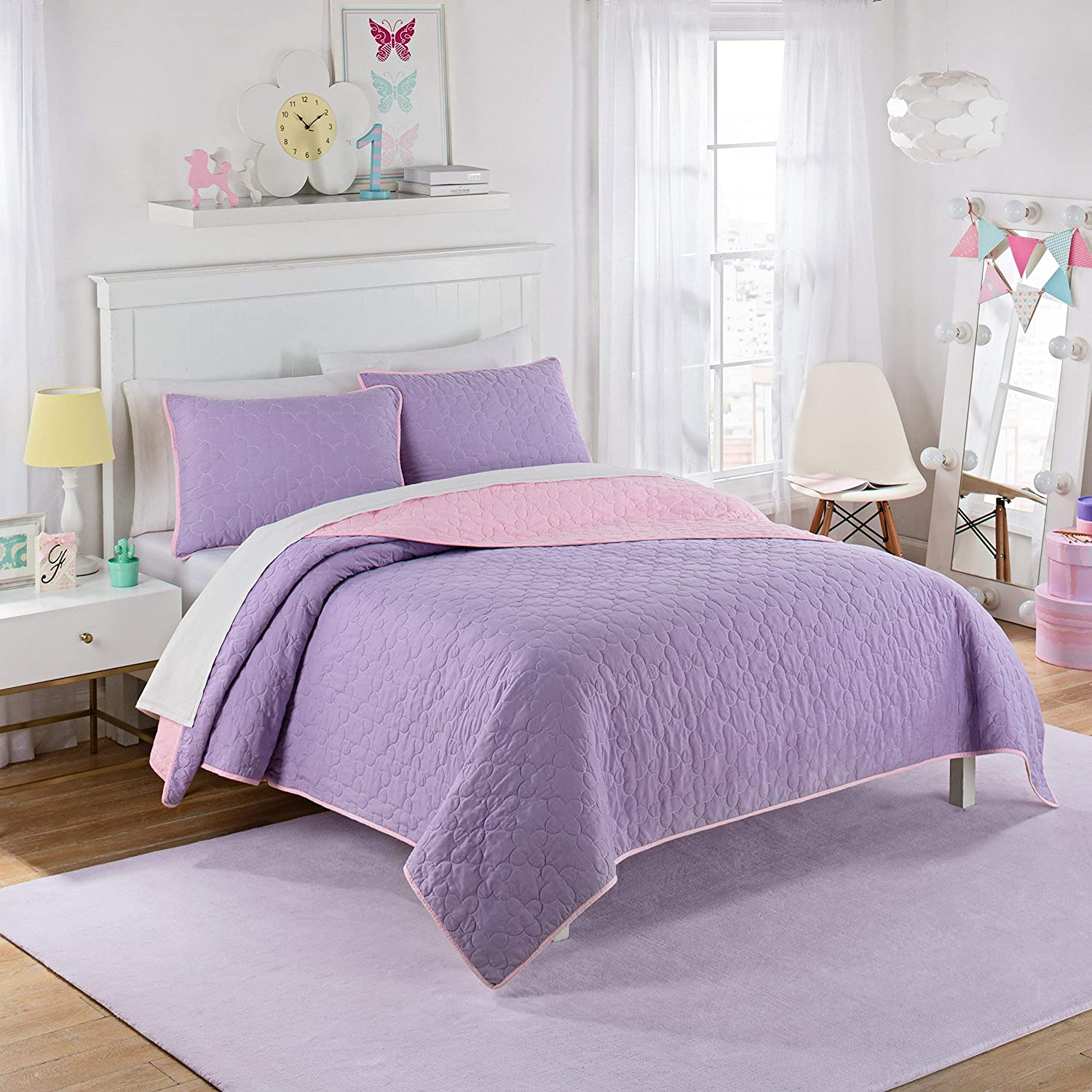 Purple Renewed Waverly Kids 16450BEDDFULPUR Framework 90-Inch by 90-Inch Reversible Full Quilt Collection