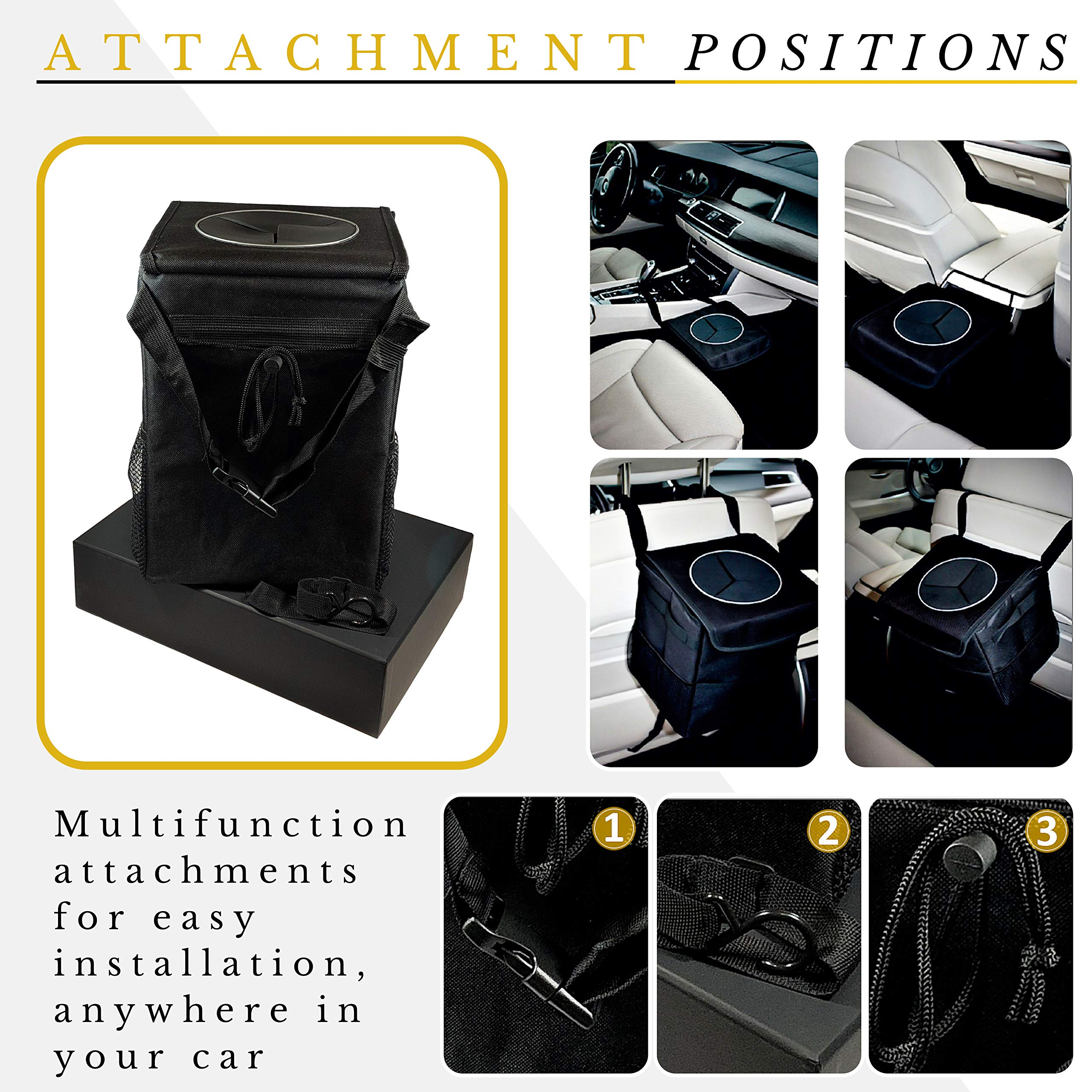 Car Trash Can - The Luxury Edition. No-Smell, Premium Leak Proof Construction & Watertight Liner Won't Cave, Spill, Tip or Contaminate Vehicle Guaranteed | Cleaning Cloth & 30 Disposable Liners by MB Innovations Group (Image #7)