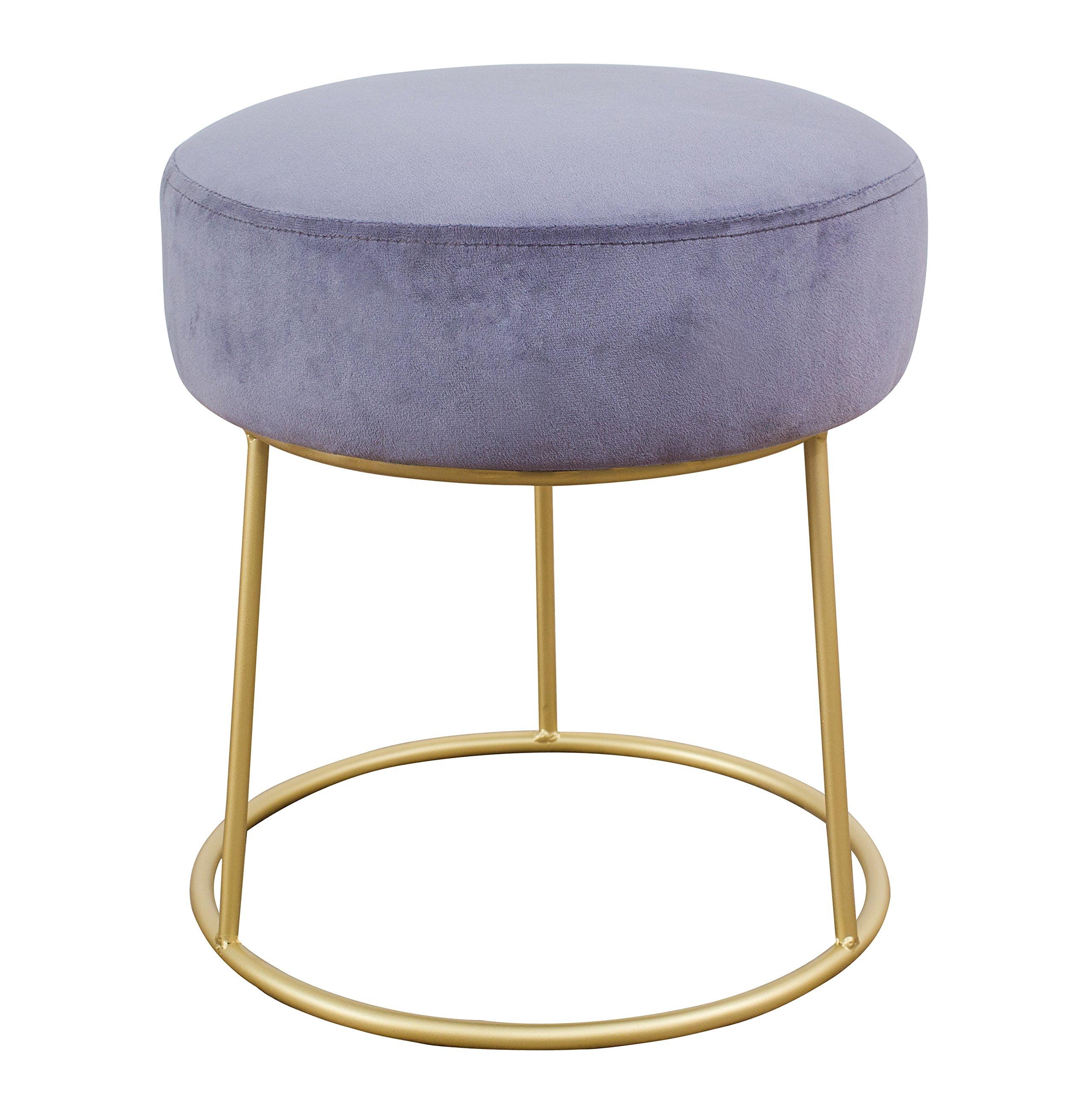 Tov Furniture TOV-OC3804 The Nina Collection Modern Velvet Upholstered Round Backless Short Stool with Gold Base Grey