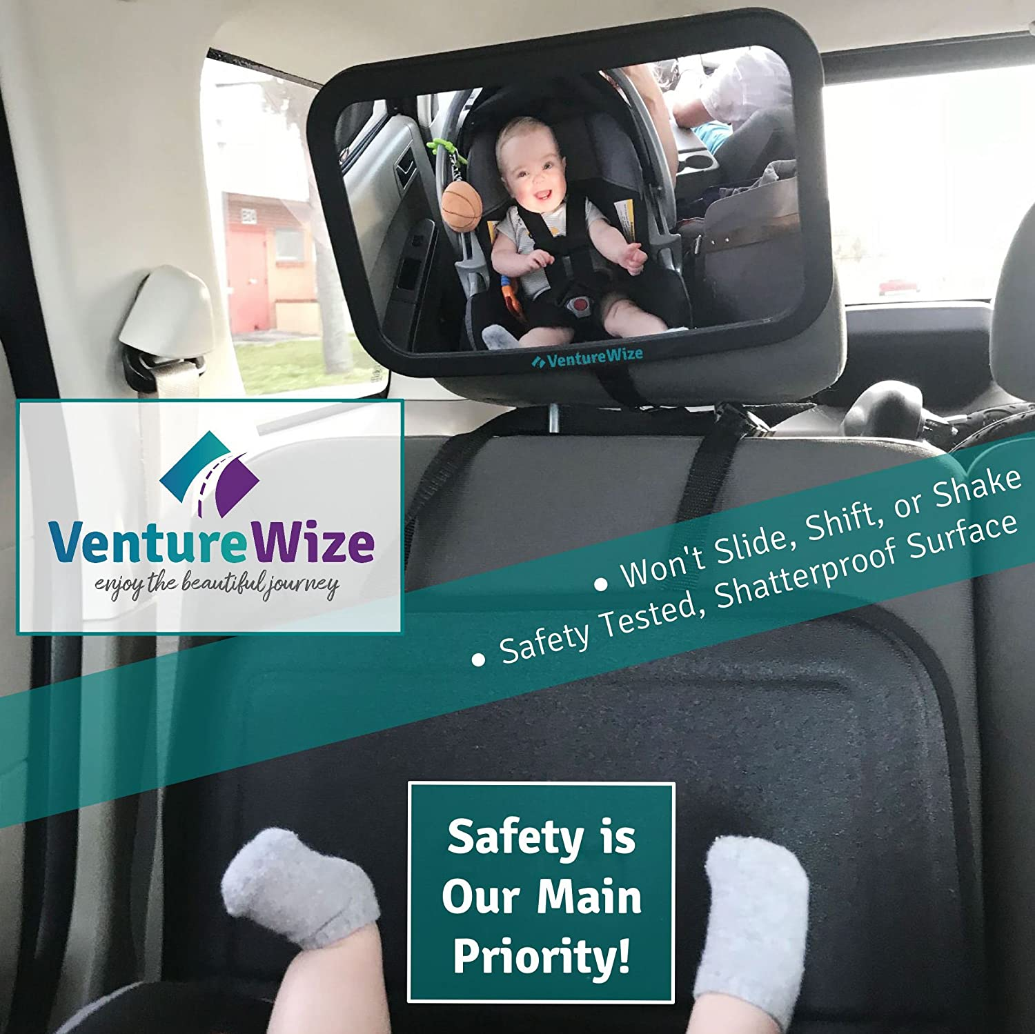 Baby Backseat Car Safety Mirror, Largest High Quality Shatterproof ...