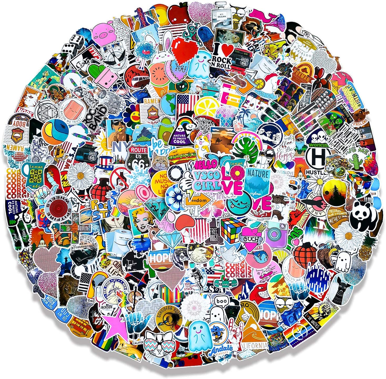 Cute Stickers 500Pcs Pack (50-500Pcs/Pack) Laptop Stickers for Waterbottle,Snowboard,Luggage,Motorcycle,iPhone,Mac