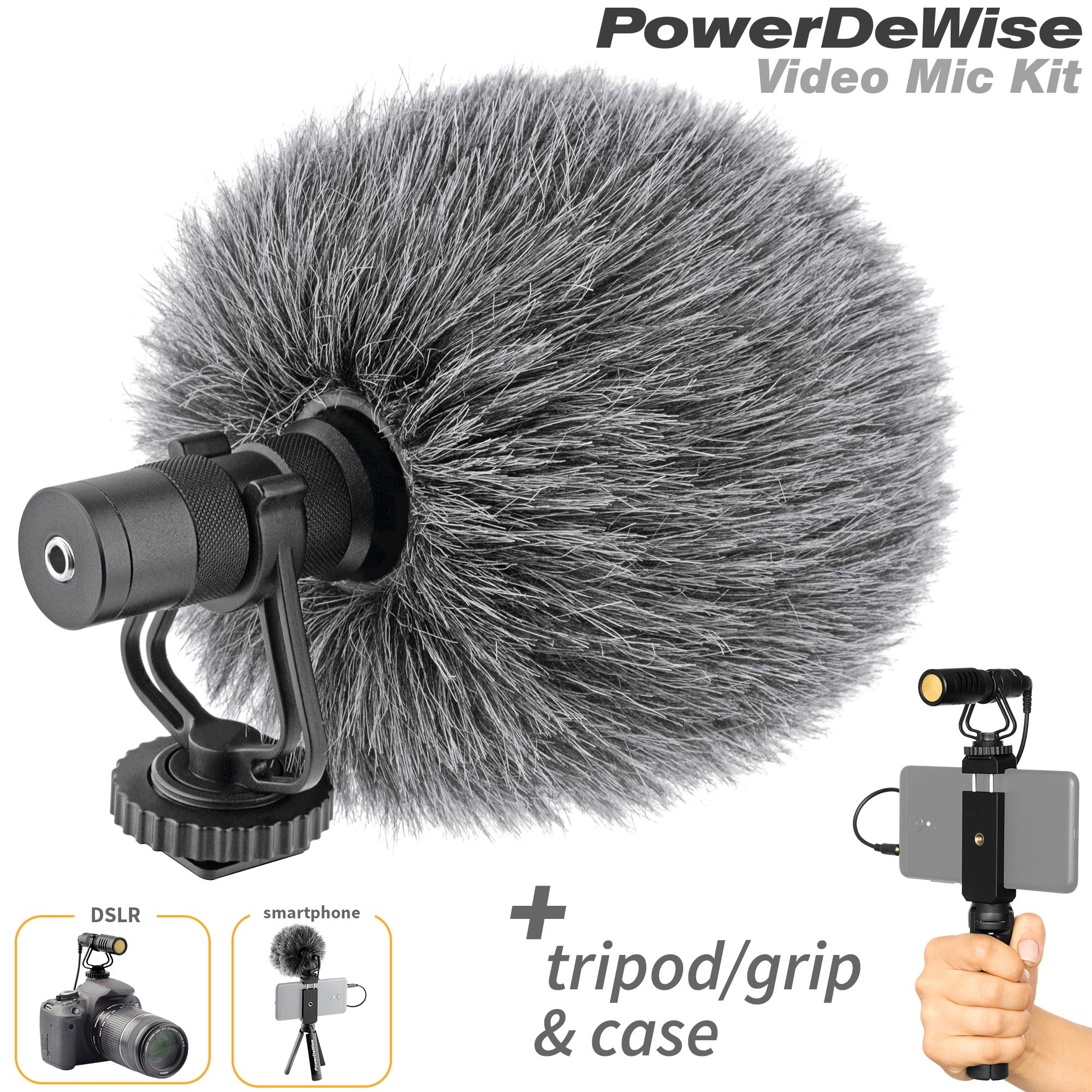Video Microphone - Unidirectional On-Camera Microphone for DSLR Cameras and Phones - Directional Cardioid iPhone Video Microphone by PowerDeWise