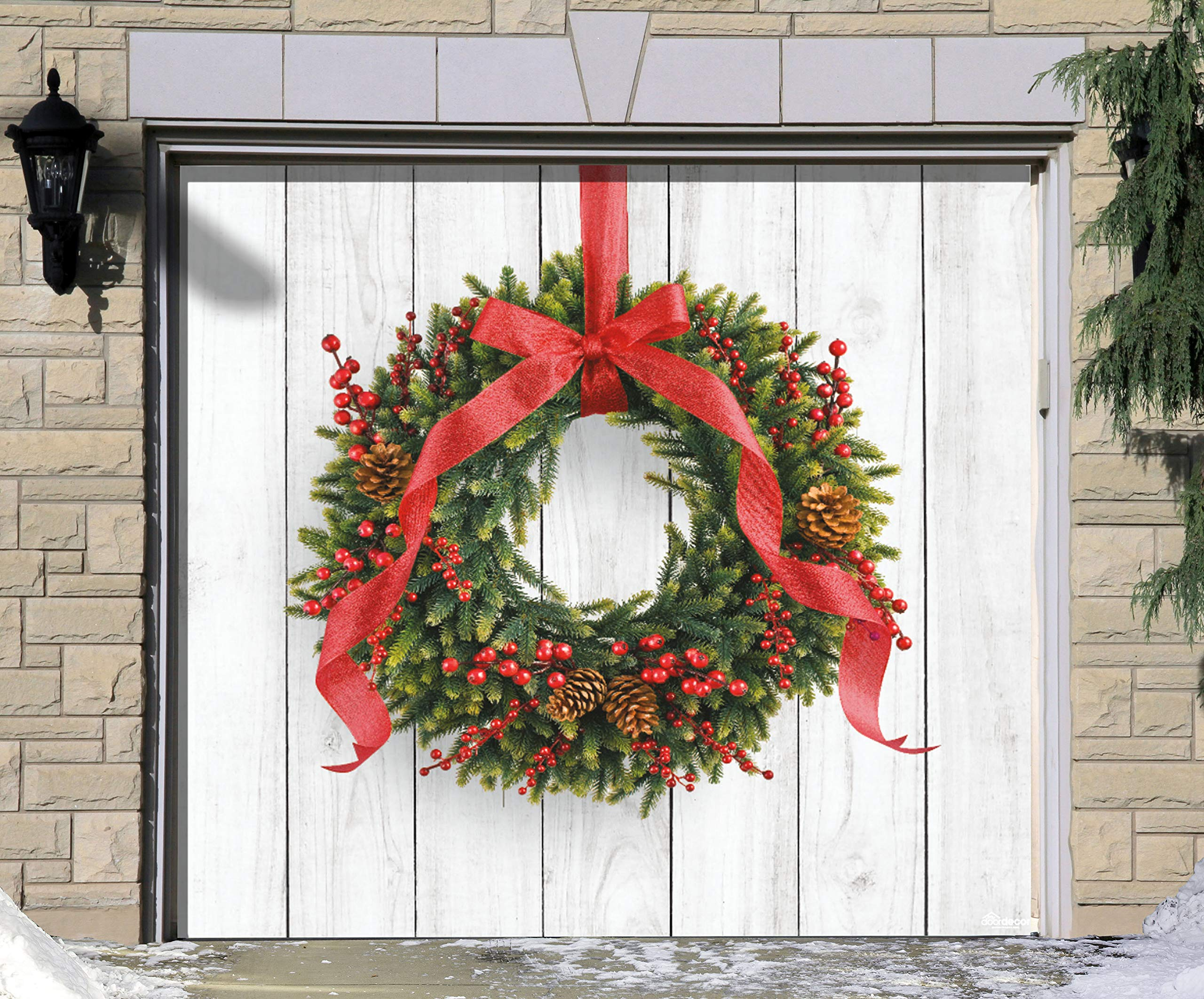 Victory Corps Christmas Wreath - Holiday Garage Door Banner Mural Sign Décor 7'x 8' Car Garage - The Original Holiday Garage Door Banner Decor