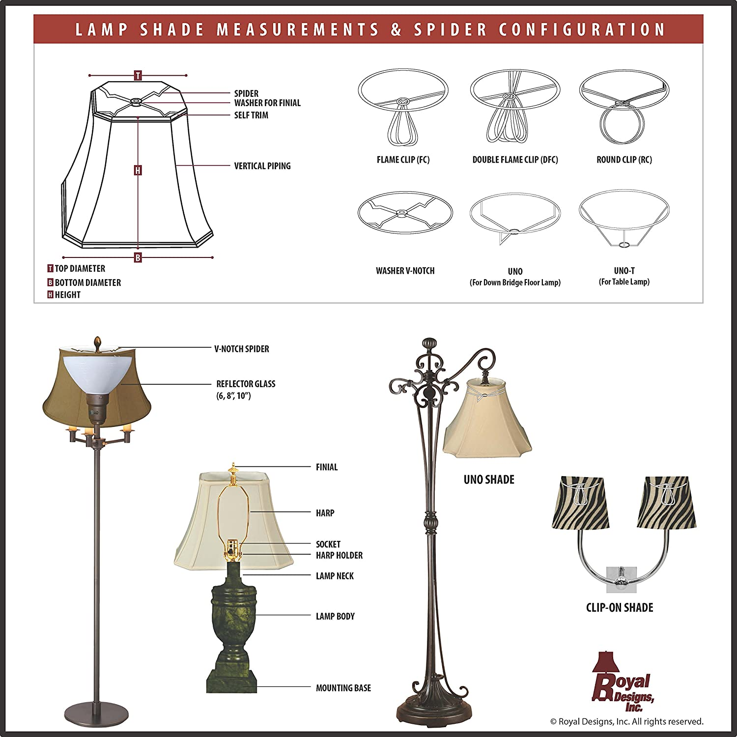 Royal Designs Shallow Drum Bell Bouillotte Lamp Shade