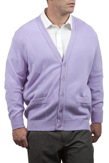 Große und britische Strickwaren 100% der Männer Lammwolle V-Ausschnitt  Strickjacke mit Taschen. Hergestellt in Schottland: Amazon.de: Bekleidung