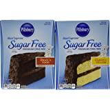 Pillsbury Sugar Free Cake Mix Value Bundle - 1 Box Sugar Free Devil's Food Cake & 1 Box Sugar Free Classic Yellow Cake
