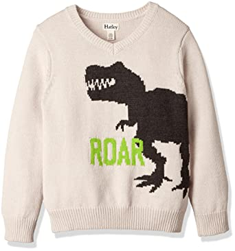 249057dd6 Amazon.com  Hatley Big Boys  Roaring Dino V-Neck Sweater 8 Off-White ...
